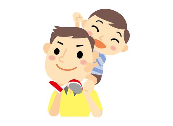 子供をおんぶする父親のイラスト